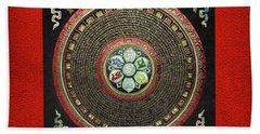 Tibetan Om Mantra Mandala In Gold On Black And Red Beach Towel