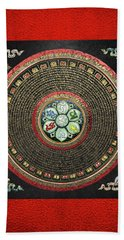 Tibetan Om Mantra Mandala In Gold On Black And Red Beach Towel