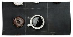 Tic Tac Toe Donuts And Coffee Beach Towel by Stephanie Frey