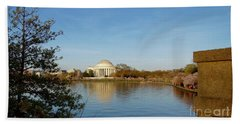 Tidal Basin And Jefferson Memorial Beach Towel by Megan Cohen