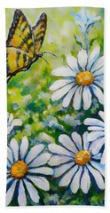 Tiger And Daisies  Beach Towel