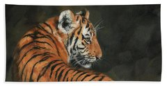 Beach Towel featuring the painting Tiger At Night by David Stribbling