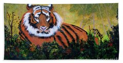Beach Towel featuring the painting Tiger At Rest by Myrna Walsh