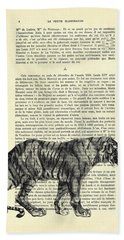 Tiger Black And White Illustration Beach Towel
