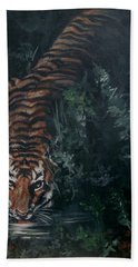 Beach Towel featuring the painting Tiger by Bryan Bustard