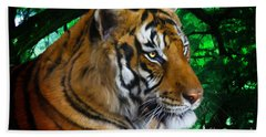 Tiger Contemplation Beach Sheet