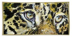 Beach Towel featuring the painting Tiger Eyes by Kovacs Anna Brigitta