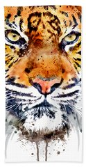 Beach Towel featuring the mixed media Tiger Face Close-up by Marian Voicu
