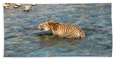 Tiger In The Water Beach Sheet by Pravine Chester