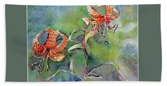 Beach Towel featuring the painting Tiger Lilies by Mindy Newman