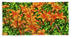 Tiger Lilies Beach Towel by Pat Cook