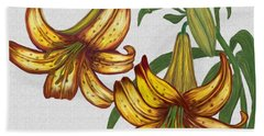 Beach Sheet featuring the digital art Tiger Lily Blossom  by Walter Colvin