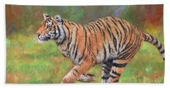 Beach Towel featuring the painting Tiger Running by David Stribbling