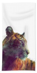 Tiger // Solace - White Background Beach Sheet by Amy Hamilton
