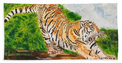 Tiger Stretching Beach Sheet