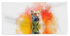 Tiger Sunset Beach Towel by Suzanne Handel