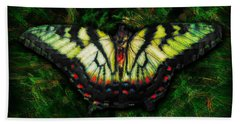 Beach Towel featuring the photograph Tiger Swallowtail by Iowan Stone-Flowers