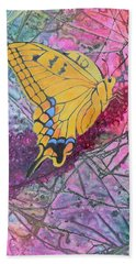 Beach Towel featuring the painting Tiger Swallowtail by Nancy Jolley