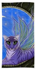 Beach Towel featuring the painting Tigerpixie Purple Tiger Fairy by Carrie Hawks