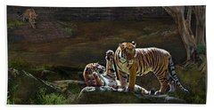 Tigers In The Night Beach Towel