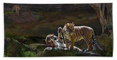 Tigers In The Night Beach Towel