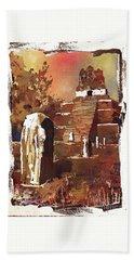 Beach Towel featuring the painting Tikal Mayan Ruins- Guatemala by Ryan Fox