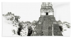 Tikal Temple I Beach Towel
