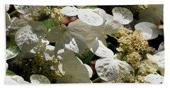 Tiled White Lace Cap Hydrangeas Beach Sheet