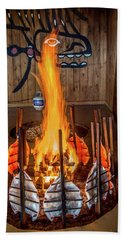 Beach Towel featuring the photograph Tillicum Village Salmon Cook by Rob Green