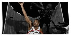 Beach Towel featuring the mixed media Tim Duncan 5s by Brian Reaves