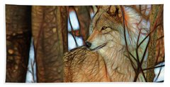 Timber Wolf Colorful Art Beach Sheet by Eleanor Abramson