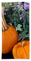 Time For Pumpkins In The Flower Beds Beach Sheet by Patricia E Sundik