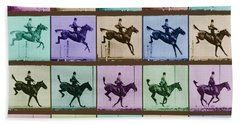 Time Lapse Motion Study Horse And Rider Color Beach Towel