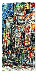 Times Square, New York Beach Towel