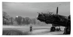 Beach Towel featuring the photograph Time To Go - Lancasters On Dispersal Bw Version by Gary Eason