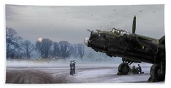 Beach Towel featuring the photograph Time To Go - Lancasters On Dispersal by Gary Eason