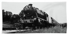 Beach Towel featuring the photograph Time Travel By Steam B/w by Martin Howard