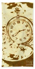 Time Worn Vintage Pocket Watch Beach Towel