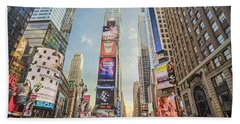 Beach Towel featuring the photograph Times Square Hustle by Ray Warren
