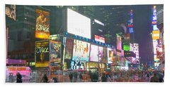 Times Square Red Rain Beach Sheet