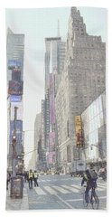 Times Square Street Scene Beach Towel by Dyle Warren