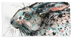 Beach Towel featuring the painting Timid Hare by Zaira Dzhaubaeva