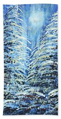 Beach Towel featuring the painting Tim's Winter Forest by Holly Carmichael