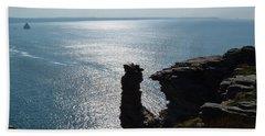 Tintagel Stack Cornwall Beach Towel