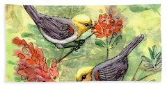 Beach Towel featuring the painting Tiny Verdin In Honeysuckle by Marilyn Smith