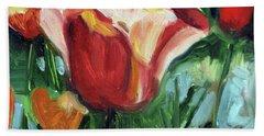Tip Toe Thru The Tulips Beach Sheet by Billie Colson