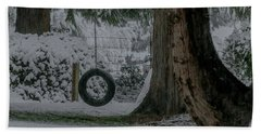 Tire Swing In Winter Beach Sheet