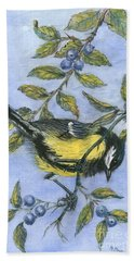 Tit In Blackthorn And Sloe Beach Towel by Nell Hill