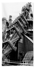 Titan Of Industry - Bethlehem Steel Mill In Black And White Beach Towel by Bill Cannon