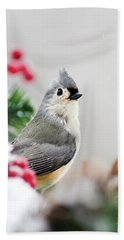 Beach Towel featuring the photograph Titmouse Bird Portrait by Christina Rollo